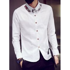 Modern Style Turn-down Collar Color Block Paisley Print Long Sleeves Men's Slim Fit Shirt-17.17 and Free Shipping| GearBest.com