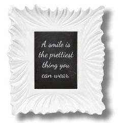"""When you get dressed in the morning, dont forget your smile! Adorable simulated chalkboard print, featuring an inspiring quote, A Smile Is The Prettiest Thing You Can Wear in cute script. Perfect for the bedroom, dressing room, or by your front door.    ♥ Print size 4x6  ♥ Professionally printed on gallery/exhibition-quality Fujicolor Crystal Archive lustre paper  ♥ Matte or frame not included (We love the """"Ribba"""" frame from IKEA)  ♥ Carefully shipped inside a sturdy Stay Flat mailer via…"""