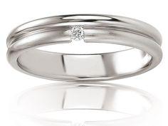 Alliance de mariage en Or 375/1000 - 9 K Blanc - Lunille 4,0 - Alliance Breuning - 48/05628-56G9K
