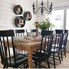 modern farmhouse dining room design, neutral dining room decor, fixer upper dining room ideas, with farmhouse table and chandelier with jute rug and black windsor dining room chairs and shiplap Dining Room Wall Decor, Dining Room Design, Living Room Lighting, Dining Room Shelves, Dining Room Picture Wall, Kitchen Dining, Kitchen Decor, Black Kitchen Tables, Rustic Kitchen Chairs