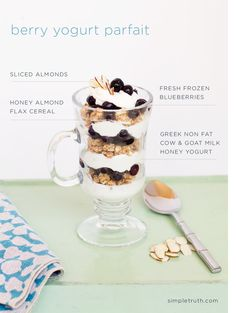 A delicious berry yogurt parfait using Simple Truth Greek yogurt, frozen blueberries, and cereal. Yum!