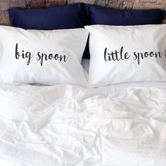 Big spoon Little Spoon Spooning couple pillow cases 1st or 2nd year cotton anniversary gift for him her husband wife men gifts his hers gift for spooning couples Big spoon and Little spoon! (Set of 2) Very romantic, funny and interesting gift Big spoon - little spoon, for him and her. Will decorate every bedroom and make it sweet, romantic and comfy with a little bit of fun! Great idea to say I Love You or to say what do you think :) If you search gift for 1st or 2nd year cotton anniversary…