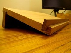 Wooden Laptop Stand by MatchlessMade on Etsy Cool Woodworking Projects, Diy Woodworking, Wood Projects, Wooden Laptop Stand, Laptop Tray, Imac Laptop, Craft Shed, Drawing Desk, Desktop Design