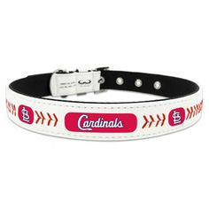 St. Louis Cardinals Classic Leather Baseball Dog Collar Let your pet show off your favorite Major League Baseball Team with this stylish, officially licensed baseball dog collar. Each collar is handcrafted from genuine gameball leather and thread, and adorned with your favorite team's logo and colors.It's made with a heavy duty buckle and D ring for leash attachment. Just right for your favorite four-legged friend to get in the game with these MLB officially licensed dog collars.