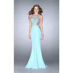 Gigi 23896 Prom CutOut Dress Long High Neckline Sleeveless ($378) ❤ liked on Polyvore featuring dresses, gowns, formal dresses, light blue, formal evening dresses, long prom dresses, sparkly prom dresses and prom dresses