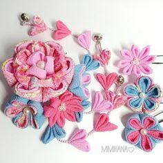 ハンドメイドマーケット+minne(ミンネ)|+#5#ピンク×水色+つまみ細工髪飾り♡七五三・結婚式・特別な日に