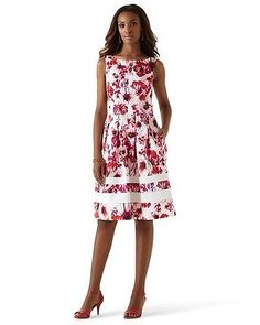 White House Black Market Dress Size 6 Blossom Pink Floral Sundress NWT