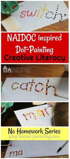 Teach spelling words & sight words creatively with this Aboriginal dot painting literacy activity. The No Homework Series. Aboriginal Art For Kids, Aboriginal Education, Aboriginal Dot Painting, Literacy And Numeracy, Literacy Activities, Naidoc Week Activities, Activity Ideas, Craft Ideas, Teachers Aide