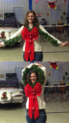 ugly christmas sweater When trying to choose the right plants for landscaping Chicago take a look ar Costume Halloween, Christmas Costumes, Diy Christmas Outfits, Diy Ugly Christmas Sweater, Ugly Sweater Party, Ugliest Christmas Sweater Ever, Theme Noel, Noel Christmas, Tacky Christmas