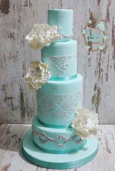 Teal aqua lace floral wedding cake