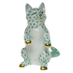 Herend Standing Kitten w Front Paws Up, Green Fishnet w Gold Accents, Hand Painted Porcelain Figurine.