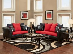 Brown Carpet Living Room Red Black And