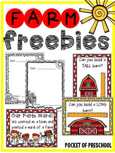Farm Math and Literacy Centers (Freebies) for preschool, pre-k, and kindergarten. Challenge students to build a TALL or LONG barn and measure it! Kindergarten Themes, Preschool Themes, Preschool Farm, Homeschool Kindergarten, Literacy Centers, Math Literacy, Preschool Centers, Farm Animal Crafts, Farm Animals