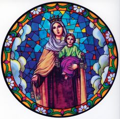 Our Lady of Mount Carmel Window Sticker – Discount Catholic Store Catholic Store, Catholic Art, Glass Painting Designs, Stained Glass Designs, Religious Images, Religious Art, Mother Mary Tattoos, Lady Of Mount Carmel, Stained Glass Church