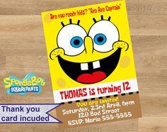 Spongebob squarepants invitation, Spongebob squarepants personalized invitation, Spongebob squarepants printable invitations, Custom by DesignMadeDesigns on Etsy Personalized Invitations, Printable Invitations, Printables, Shopkins Invitations, Birthday Invitations, Spongebob Squarepants, Troy, Handmade Gifts, Cards