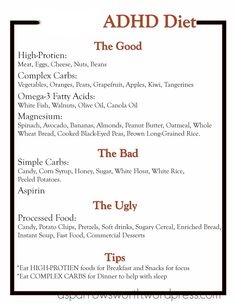 ADHD DIET TEMPLATE- reminder to keep a list of good/bad choices taped in the pantry & on fridge