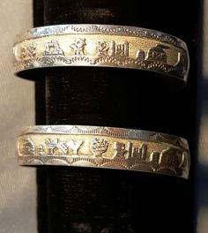 TWO Navajo sterling silver cuff bracelets signed HB with story teller themes #Unbranded