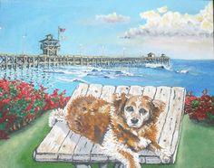 Lucy #2. Jeremy Backlin 2013.  Acrylic on canvas.  Pet portrait.  San Clemente pier.