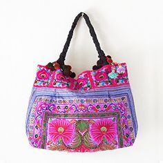 Changnoi Purple Flowers Embroidered Hill Tribe Tote Bag Made By Hmong Thai Fair Trade -- See this great product.