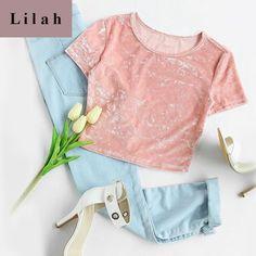 4f2cb4c06cc2b Crushed Velvet T-shirt Valentine Pink Short Sleeve Crop Top