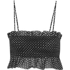 Lisa Marie Fernandez Selena smocked polka-dot cotton top (600 RON) ❤ liked on Polyvore featuring tops, tank tops, crop tops, black, cotton crop top, flared crop top, cut-out crop tops, lisa marie fernandez and smock top
