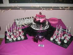 zebra cake & cake pops for baby girl olsons baby shower...should it be a her
