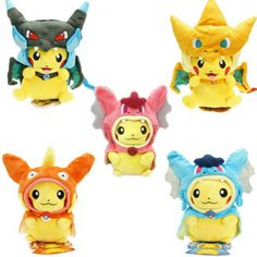 7 Kinds Option Pokemon Plush toys Pikachu Cosplay Mega Charizard gyrados Stuffed Animal Dolls Children Toys  kids Christmas Gift