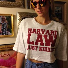 WAIT!?! You graduated from Harvard?!? Obsessed with this fun new crop top just in at #sophieandtrey ($16.99) with high waisted denim shorts ($29.99) available in-store! Call to order! 407.324.5747 #ivyleague #harvardlaw #croptop