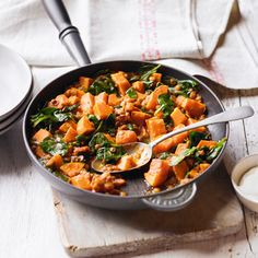 Sweet potato & spinach dhal with Waitrose ingredients - but could easily swap. Asda Recipes, Vegetable Recipes, Indian Food Recipes, Curry Recipes, Vegetarian Recipes, Healthy Recipes, Sweet Potato Spinach, Slow Cooker Recipes, Cooking Recipes