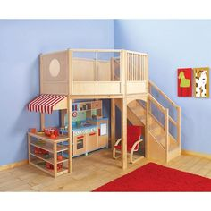 Market Loft for the girls playroom make top a curtained reading area with books shelves