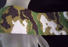 Handmade Camouflage 3 Peyote Bracelet Cuff. Starting at $45 on Tophatter.com!