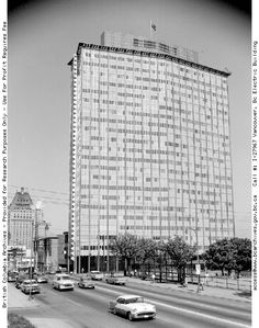 """Electra Building   Built between 1955 and 1957, the former B.C. Electric/Hydro Building is one of the most striking buildings of the post-war building boom in British Columbia. Designed by well-known architects Ronald Thom and Ned Pratt of the pre-eminent local firm Thompson, Berwick and Pratt; this building is a choice example of West Coast modern architecture and was selected as a Recent Landmark of class """"A"""" merit to be added to the Vancouver Heritage Register."""