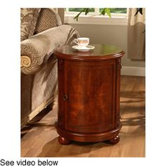 @Overstock.com - Birch Drum Table - This walnut drum table will make the perfect addition to your home decor. This table features a storage area with two shelves for maximum storage. The cherry finish and carved wood details makes it stylish and practical at the same time.  http://www.overstock.com/Home-Garden/Birch-Drum-Table/2506769/product.html?CID=214117 $139.99