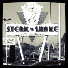 Cool old Steak n Shake sign at what I believe is the oldest Steak n Shake in St. Louis on Lemay Ferry Road.