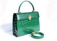 Stunning EMERALD GREEN Alligator Belly Skin Handbag SHOULDER Bag