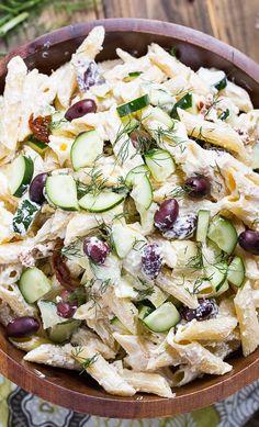 Tzatziki Pasta Salad with greek yogurt, feta cheese, and olives. Use gluten free pasta Caesar Pasta Salads, Easy Pasta Salad, Pasta Salad Recipes, Feta Pasta, Tzatziki, Lactuca Sativa, Cooking Recipes, Healthy Recipes, Healthy Salads