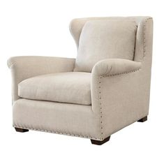 Haven Belgian Linen Upholstered Wingback Chair #WingbackChair