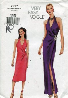 FREE US SHIP Vogue 7277 Sexy Halter Wrap Dress  2001 Evening Length Cocktail Size 6 8 10 Bust 30 31 32 Sewing Pattern Old Store Stock by LanetzLivingPatterns on Etsy