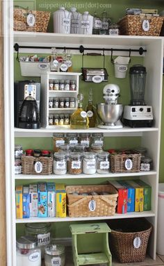 New kitchen organization small appliances shelves 54 ideas Pantry Storage, Pantry Organization, Kitchen Storage, Pantry Ideas, Pantry Closet, Organizing Ideas, Organized Pantry, Organising, Open Pantry