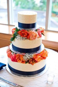 Wedding cake. Our harbor wedding. Nautical themed. Colors: navy, gray, and coral. Fells Point, Baltimore, Maryland.