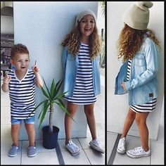 Twinning CUTENESS!! 😍  Adorable Kingston wearing our Vneck Striped Tee + Denim Jeg Shorts and his gorgeous big sis Sienna wearing our Stripe Tshirt Dress, Chambray Shirt + Beige Knit Beanie...both full outfits available online now! 💙 www.beauhudson.co  @africansgirl ❤️❤️❤️❤️ them! 😍😘