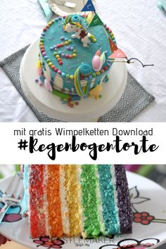 Regenbogentorte 🌈 - New Site 12th Birthday, Birthday Cake, Meringue Kisses, Good Presentation, Make All, Unicorn Party, Party Cakes, Food And Drink, About Me Blog