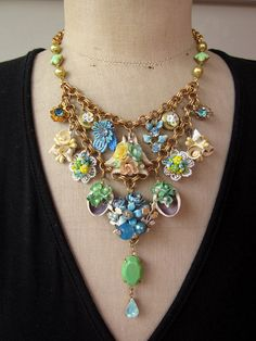Vintage Necklace Flower Necklace Charm Necklace   by rebecca3030, $155.00