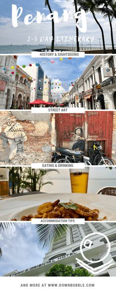 Is George Town, Penang on your Malaysian destinations bucket list? Use our itinerary for 2-3 Days as the perfect intro to the myriad street art, street food and multicultural historical spots to be explored here! Plus onwards destinations ideas, drinking and dining, accommodation, packing and general travel tips! From the legends at www.downbubble.com | #Malaysia #Penang #GeorgeTownPenang via @downbubbletravels