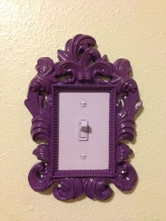 Light switch cover for my little girl's room. Took a small frame, cut the switch cover to fit inside the frame, painted the switch and cover a light purple, and then glued the cover to the inside of the frame. My New Room, My Room, Deco Luminaire, Deco Originale, Decoration Inspiration, Style Inspiration, Diy Décoration, Home And Deco, Girl Rooms
