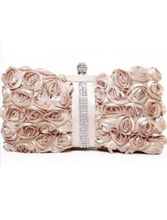 Satin roses & Rhinestone evening bag