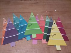 Christmas tags made from paint chips, awesome!!!