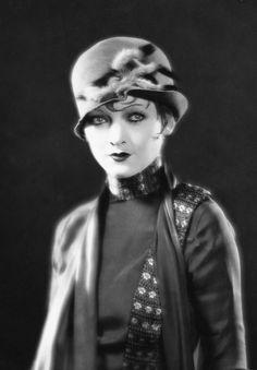 Myrna Loy 20s 30s portrait movie star unique style outfit dress hat blouse Asian looks