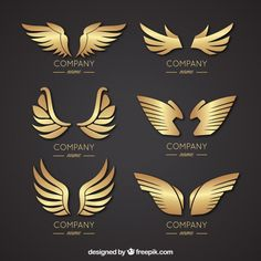 Selection of elegant wing logos Vector Logo Wings, Ad Design, Logo Design, Types Of Magic, Unicorn Pictures, Eagle Logo, Alphabet Art, Studio Logo, Vector Free Download