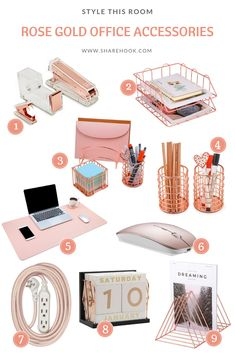 Rose Gold Office Accessories desk decor for work cubicle Work Desk Decor, Office Organization At Work, Study Room Decor, Cute Room Decor, Office Desk, Office Chairs, Room Decor Bedroom Rose Gold, Rose Gold Rooms, Bedroom Ideas